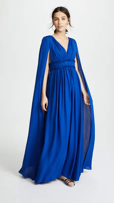 Marchesa V Neck Silk Cape Gown