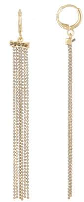 Jessica Simpson Thin Beaded Line Tassel Dangle Earrings