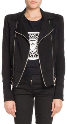 Balmain Zip-Front Cotton Moto Jacket