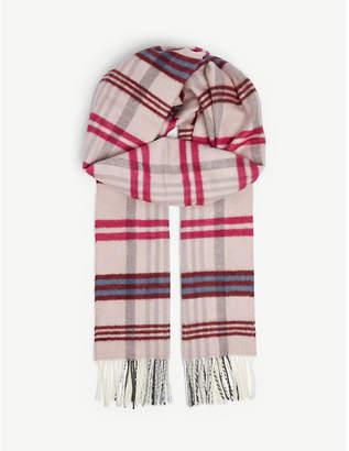 Maje Check wool-blend scarf