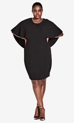 City Chic Black Cape Sleeve Dress