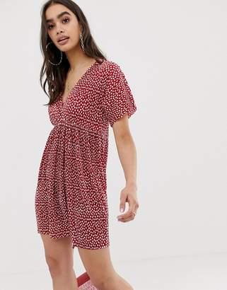 62c8ffd841 Asos Design DESIGN wrap front plisse smock dress in spot print