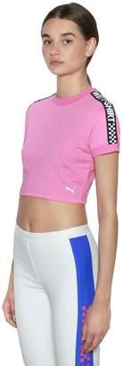 FENTY PUMA by Rihanna Wet Intarsia Cotton Cropped T-Shirt