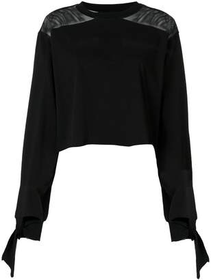 KENDALL + KYLIE Kendall+Kylie round neck longsleeved raw edge top
