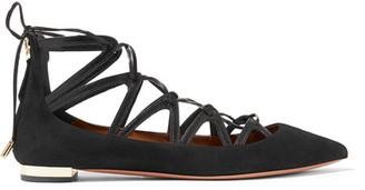 Aquazzura - Maya Leather-trimmed Suede Point-toe Flats - Black $750 thestylecure.com