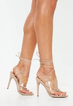 Missguided Nude Clear Strap Lace Up Heeled Sandal