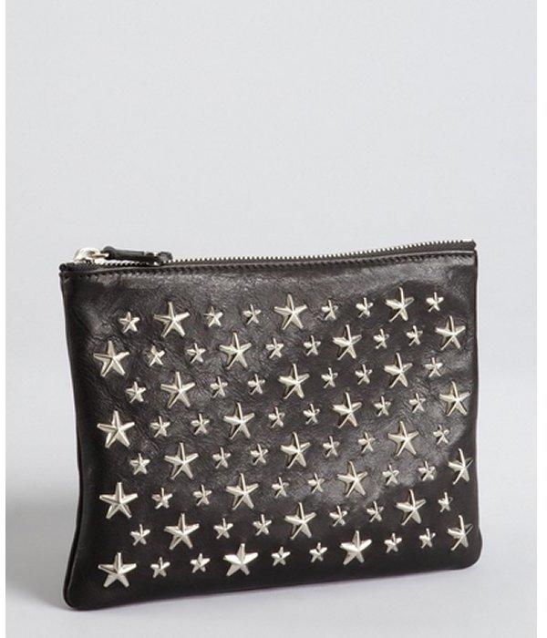 Jimmy Choo black leather 'Stars Nina' zip top pouch