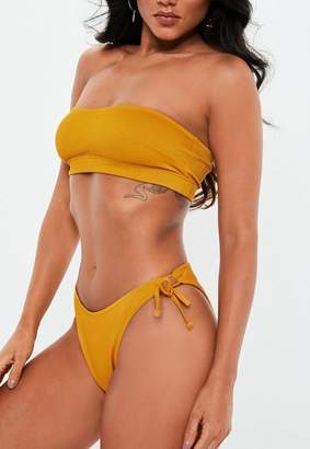 Missguided Mustard Yellow Ribbed Tie Side Briefs