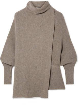 Agnona Belted Asymmetric Ribbed Cashmere Turtleneck Sweater - Mushroom