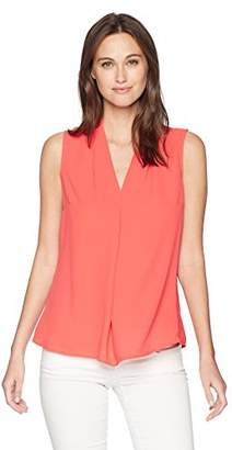 Nine West Women's Sleeveless V-Neck Blouse with Inverted Front Pleat