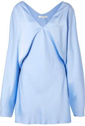 The Row Ran Draped Silk-satin Mini Dress - Light blue