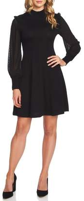 CeCe Swiss Dot Sleeve Fit & Flare Knit Dress