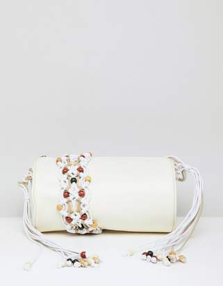 Asos Design DESIGN Macrame Cylinder Cross Body Bag