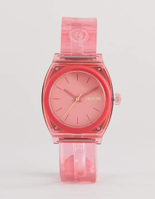 Nixon A1215 Medium Time Teller Silicone Watch In Pink