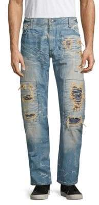 Distressed Long Flap Jeans