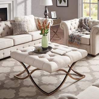 Weston Home Libby Button Tufted Cushion Ottoman Coffee Table with Champagne Gold Metal X-Base, Multiple Colors