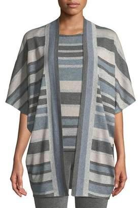St. John Short-Sleeve Shimmer Stripe Cardigan