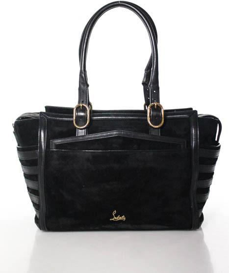 Christian Louboutin Christian Louboutin Black Suede Leather Rib Paneled Large Farida Tote Handbag