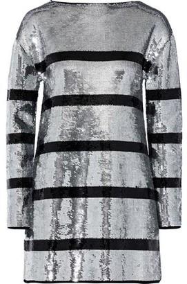 Sonia Rykiel Striped Sequined Stretch-knit Mini Dress