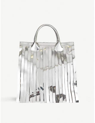 MM6 MAISON MARGIELA Tasselled metallic faux-leather tote bag