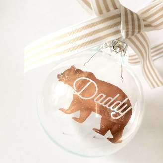 Coral & Moss Personalised Bear Glass Bauble