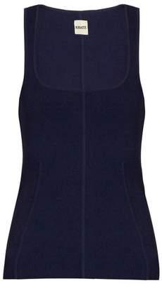 Khaite - Danielle Scoop Neck Ribbed Knit Tank Top - Womens - Navy