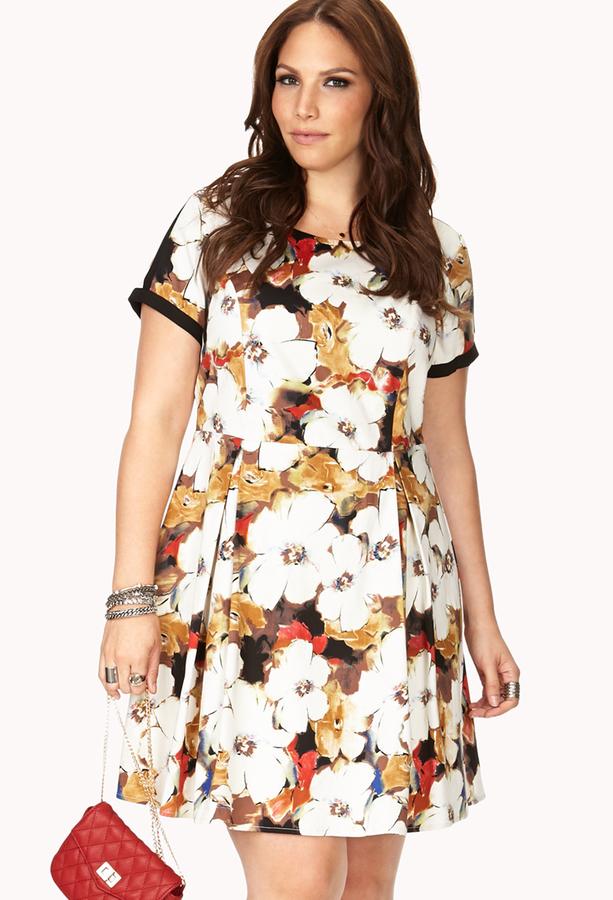 Forever 21 FOREVER 21+ Garden Party Pleated Dress