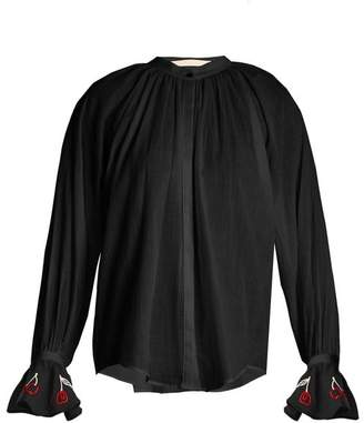 Bliss And Mischief - Cherry Embroidered Cotton Voile Shirt - Womens - Black