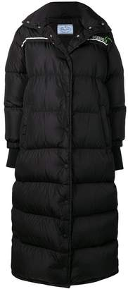 Prada long padded logo coat