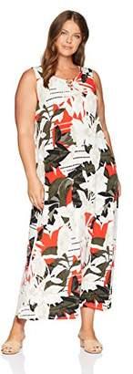 Calvin Klein Women's Plus Size Sleeveless Maxi with Circle Hardware