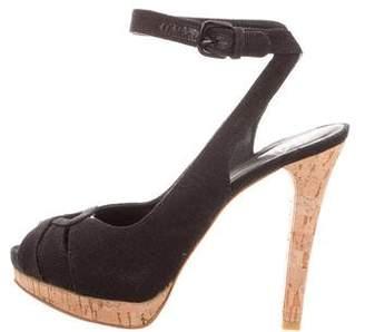 Stuart Weitzman Woven Peep-Toe Sandals