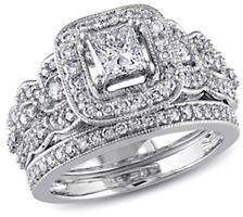HBC CONCERTO 1.25CT Diamond 14K White Gold Halo Bridal Set