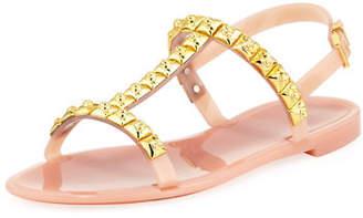 Stuart Weitzman Jelrose Studded Flat Jelly Sandal