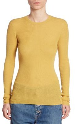 Vince Ribbed Cashmere Crew Top $255 thestylecure.com