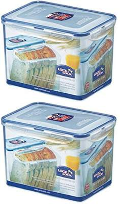 Lock & Lock (Pack of 2 Airtight Rectangular Tall Food Storage Container 131.87-oz / 16.48-cup