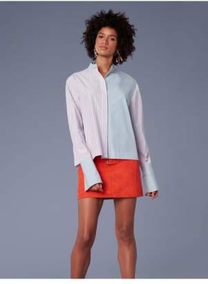 Diane von Furstenberg Long-Sleeve Collared Button-Down Top