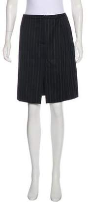 Armani Collezioni Striped Virgin Wool Skirt