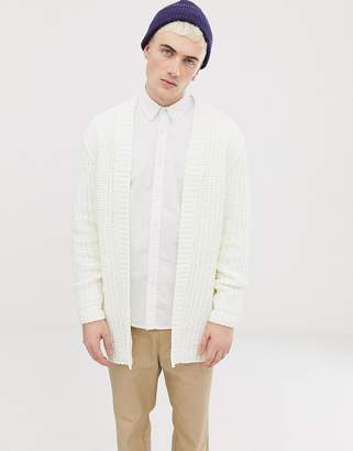 Asos DESIGN heavyweight knitted chenille cardigan in white