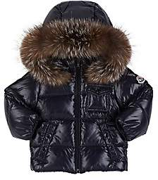 Moncler Infants' Fur-Trimmed Down-Quilted Hooded Coat-Navy