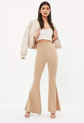 Missguided Camel Ribbed Kick Flare Pants