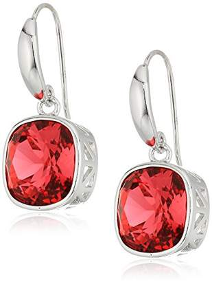 Swarovski Sterling Silver Cushion Cut Indian Pink Dangle Earrings Made with Crystal
