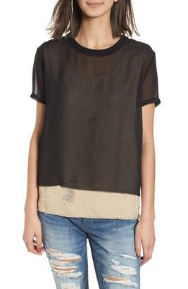 True Religion Brand Jeans Mixed Media Layered Top