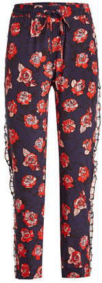 Markus Lupfer Printed Silk Pants with Chiffon Trims