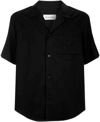 Solid Homme Short-Sleeve Bowling Shirt