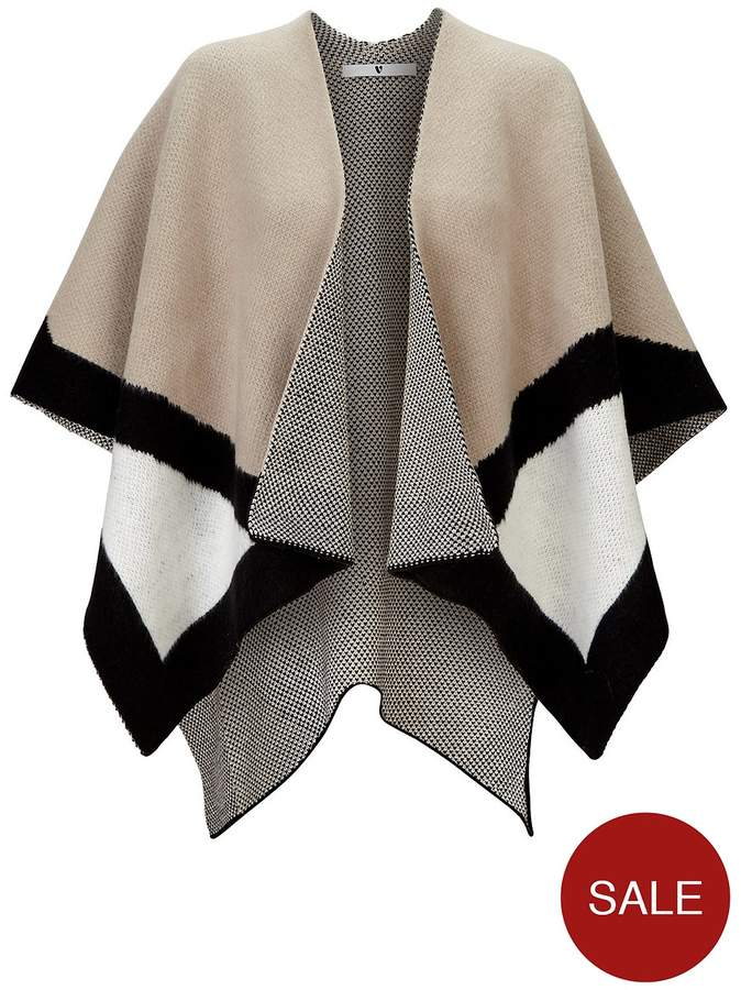Knitted Colourblock Cape