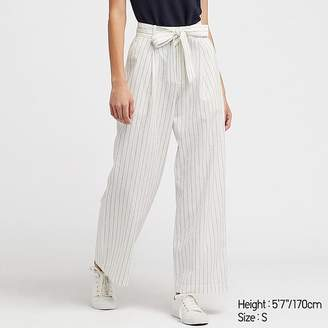 Uniqlo Women's Belted Linen Cotton Wide Straight Pants