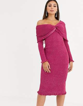Talulah Pollen asymmetric shoulder midi dress