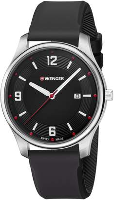 Wenger Men's 'City Active' Swiss Quartz Stainless Steel and Silicone Casual Watch, Color Black (Model: 01.1441.109)