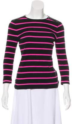 Lauren Ralph Lauren Striped Leather-Accented Top