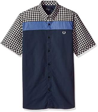 Fred Perry Gingham Oxford Mix Blue Woven Cotton Shirt